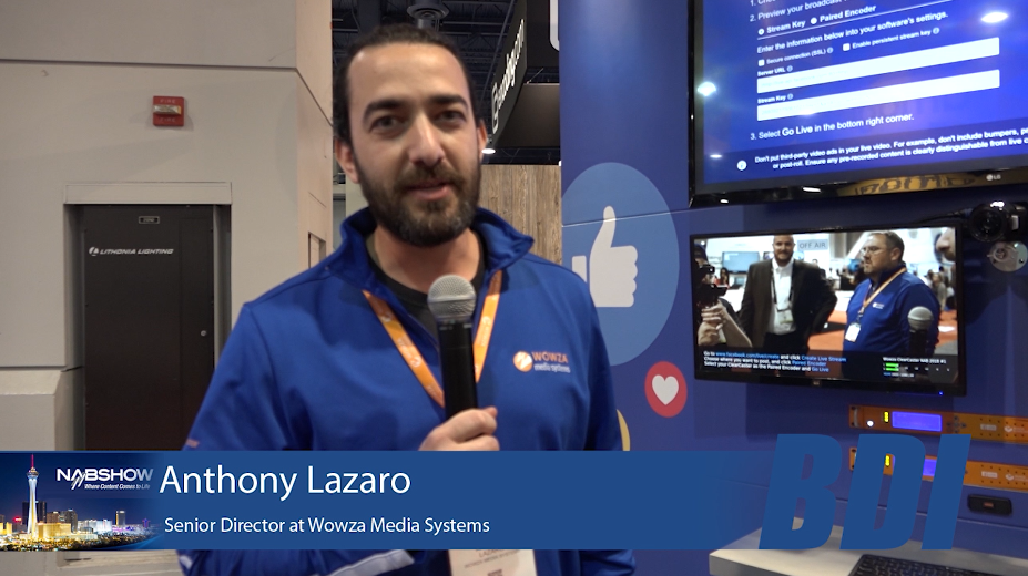 Wowza booth at NAB with Anthony Lazaro  – BROADFIELD NEWS